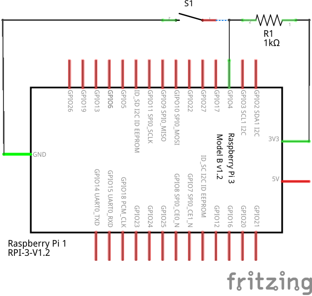 Schematic of push button connected to GPIO04 of Raspberry Pi
