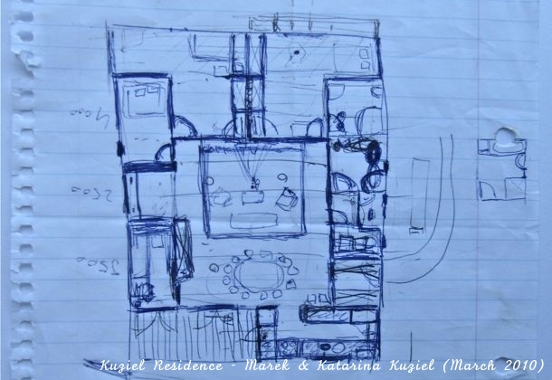 The final iteration of the house design; the very first sketch. By Marek & Katarina Kuziel (March 2010)